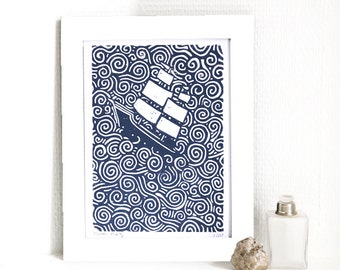 ship - linocut, First Printing with blue ink, signed and numbered