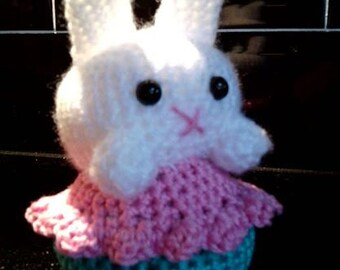 Handmade Cupcake Bunny Crocheted Creature Soft Toy