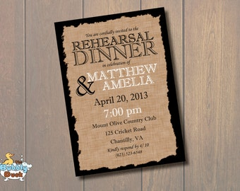Burlap Wedding Rehearsal Invitation-Printable
