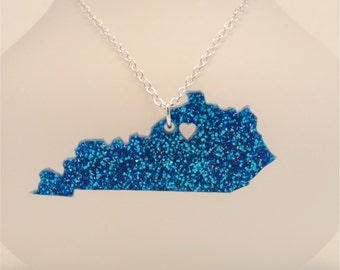 FREE SHIPPING Kentucky Necklace, Custom Made Laser Cut Going Away Gift, Mother's Day Gift