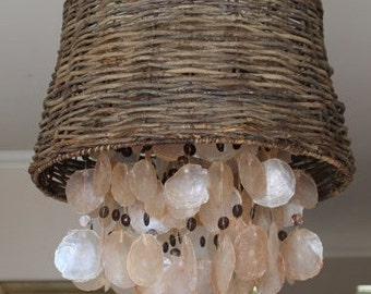 Beach House Capiz Shell Chandelier - wicker lamp shade and pink and brown shells