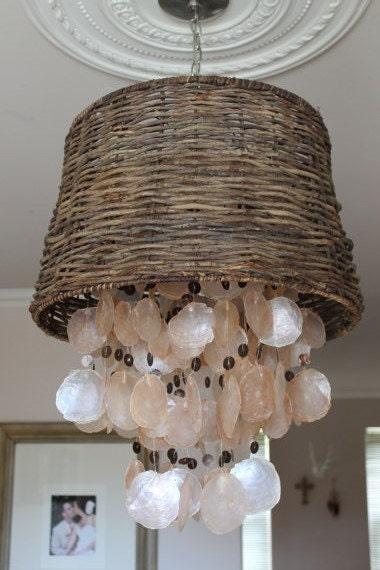 Beach House Capiz Shell Chandelier Wicker Lamp By