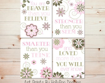 Baby Girl Nursery Wall Decor Nursery Quad Print Set You are Braver than you Believe Quote Floral Nursery Art Pink Green Girl Nursery Art