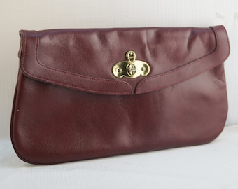 Vintage Aigner Ox Blood Burgundy Red Leather Clutch Purse