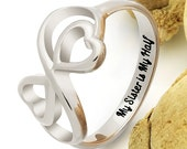"Heart Ring for Sister Double Infinity Ring, Promise Ring ""My Sister is My Half"" Engraved on Inside Best Gift for Sister"
