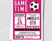 Custom Girl Soccer Birthday Invitation - Soccer Themed Party - Girl Birthday - Digital Design or Printed Invitations - FREE SHIPPING