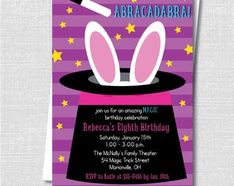 Girl Magic Birthday Party Invitation - Magic Themed Party - Digital Design and Printed Invitations - FREE SHIPPING