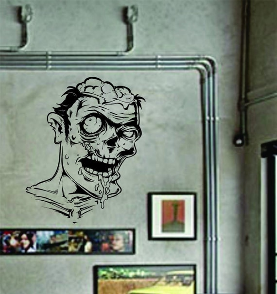 Zombie face wall decal sticker the walking dead by for Mural walking dead