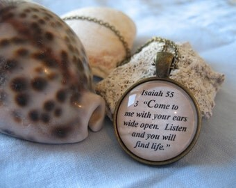 Come To Me With Your Ears Wide Open Scripture Necklace Bible Verse Isaiah 55:3 Silver or Brass