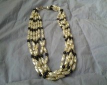 On Sale 5 Strand Faux Pearl Black and Gold Toned Necklace Costume Jewelry 19 inch Choker