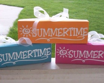 Summer wood block--Summertime, summer decor