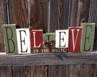 Believe in the Magic of Christmas wood blocks-christmas