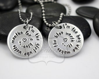 Hand-Stamped Long Distance Couples Necklace Set