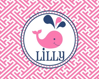 Personalized Placemat - preppy pink whale 12x18 laminated placemat