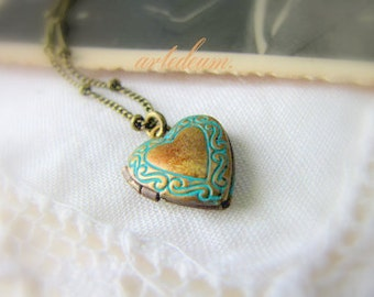 Heart Locket Bracelet vintage tiny openable Antique Bronze heart charm with blue patterns Valentines day gift for her  dainty