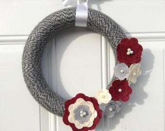 Ruby, Grey and Cream Yarn and Felt Flower Wreath, Modern Door Wreath 12 inches, Floral Wreath, Handmade Wreath