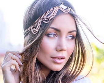 Ariel - Gold boho statement headpiece