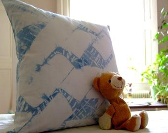 Indigo Shibori pillow cover, blue throw pillow, hand dyed cushion, pastel blue from plants