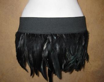 Quick Release Burlesque Dance Costume Black Feather Mini Skirt