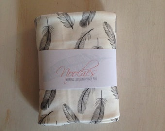 Modern baby blanket- Grey Feathers Organic Swaddling Blanket