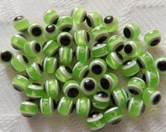 25  Lime Green White & Black Eye Round Resin Acrylic Beads  8mm