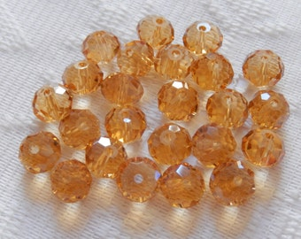 24  Golden Topaz Faceted Rondelle Crystal Beads  8mm x 6mm