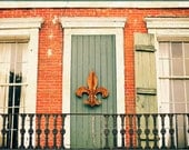 "New Orleans photography, french quarter art  historic architecture bricks fleur de lis, nola green door modern urban photography- ""Rebirth"""