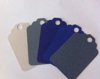 50 mix   colors blue, gray , navy  Tags , Favor Tags, Treat Bag Tags, Product Tags, Hang Tags, Wish Tree Tags, birthday tags ,