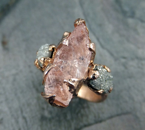 CUSTOM Raw Morganite Diamond Rose Gold Engagement Ring Wedding