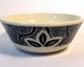 Handmade Stoneware Ice Cream Bowl with Black and White Carved Pattern