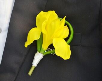 wedding boutonniere PU artificial flower iris