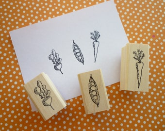 eat your veggies wood mounted rubber stamp set (MK189A, MK163A, MK162A)
