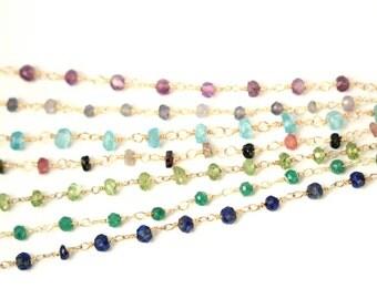 Gemstone chain necklace - lapis necklace - labradorite - watermelon tourmaline - a strand of genuine gemstones on a 14k gold vermeil chain