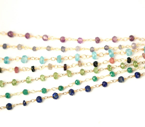 Gemstone chain necklace - lapis necklace - labradorite - watermelon tourmaline - a strand of genuine gemstones on a 14k gold vermeil chain