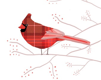 Cardinal - Limited Edition Fine Art Print - Digital Painting - Whimsical, Cute, Christmas, Xmas, Holiday Red, Berries, White