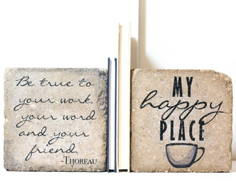 """Rustic Bookends. """"Be true to your work, your word and your friend""""- Thoreau. 6x6 Heavy Concrete Bookends. Work Bookends. Coffee Lover Gift"""