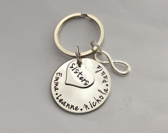 Personalized sister gift - gift for sister - sister keyring - matching sister gift - infinity keyring, cousins brothers friends gift present