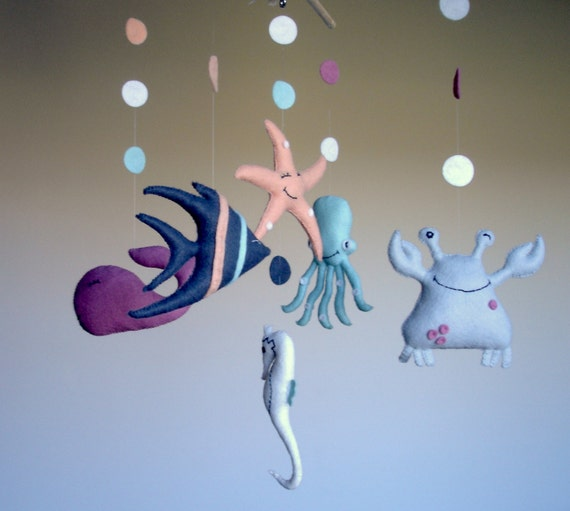 Sea creatures mobile sea mobile baby mobile nursery mobile for Sea animal baby mobile