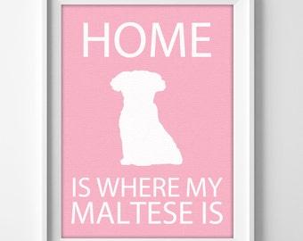 "8x10"" Maltese Wall Art, Illustrated Dog Art, Maltese Decor, Dog Breed Wall Art, Minimalist Pet Art, Puppy Wall Art Print, Maltese Gift"