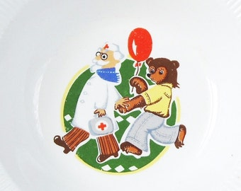Vintage Plate, Fine China, Russian Plate, Children's Bowl, Porcelain Kid's Plate, Doctor and Bear, Soviet Union Tableware