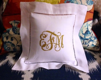 Glitter Monogrammed Pillow Sham with Pillow Insert