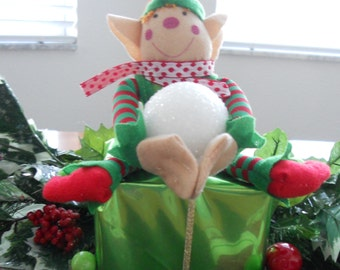 Christmas Elf, Christmas Elf Sitting On Present, Elf Decor, Christmas Decor, Elf