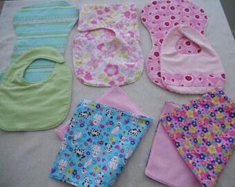 Baby Bibs,Baby Burp Cloths,Baby Girl Bibs,Baby Boy or Girl Set, Baby Girl Burp Cloths,Babies, 8 Pc. Set of Bibs and Cloths,