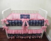 Baby Crib Bedding Set Tori - Navy Anchors with Pink Stripes and Pink Polka Dots