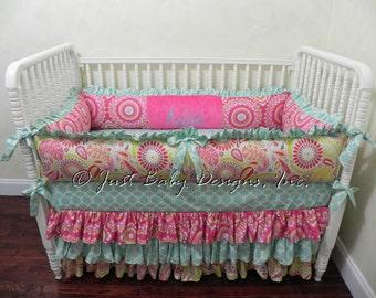 Baby Crib Bedding Set Madison - Girl Baby Bedding, Kumari Garden Crib Bedding, Hot Pink Crib Bedding, Ruffle Skirt