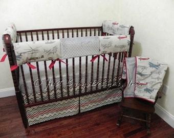 Custom Bumperless Crib Bedding Frazier - Boy Baby Bedding, Airplane Crib Bedding, Teething Rail Cover