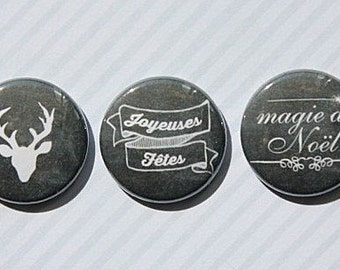"3 badges 1 ""table black Christmas"