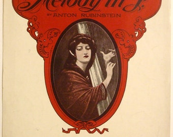 """Antique 1914 Beau Arts Edition of """"Melody in F"""" Sheet Music by Anton Rubinstein 11 x 14 Large Format"""