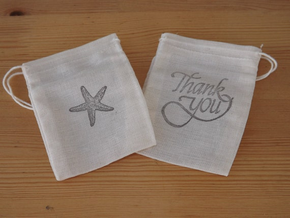 Wedding Gift Bags Beach Theme : Beach Wedding Favor Bags- Muslin- Hand Stamped Favor Bags- Wedding ...