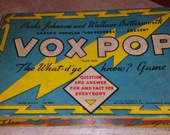 1930's Vox Pop Board Game